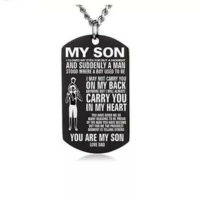 Stainless Steel To My Son Necklace Badge Dog Tag Bead Chain Gift Love Dad • 4.29£