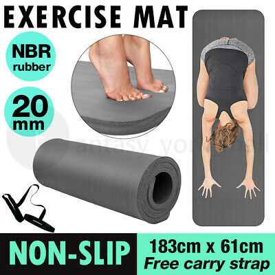 AU25.81 • Buy NBR Yoga Mat Pilate Non Slip Durable Exercise Fitness Gym Pad 20MM Thick Black