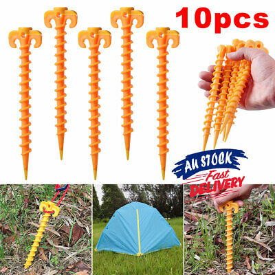 AU15.36 • Buy 10x Screw Outdoor Camping Plastic Tent Pegs Nails Ground Spiral Stakes Tarp