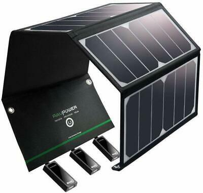 AU147.99 • Buy RAVPower 24W Travel Waterproof Solar Charger Panel 3 USB Ports IOS Android - NEW