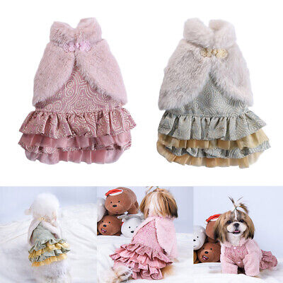 Dog Dresses Girl Bowtie Dress Party Birthday Pet Apparel For Small/Medium Dogs • 11.56£