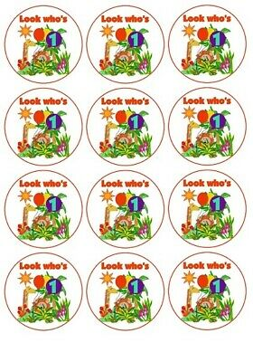 £1.99 • Buy 24 1st Birthday Jungle Animals Cup Cake Toppers Edible Party Decorations