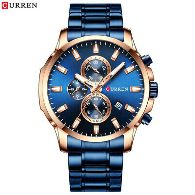 AU35.59 • Buy Men's Stainless Steel Military Watches Chronograph Date Quartz Wristwatch Blue