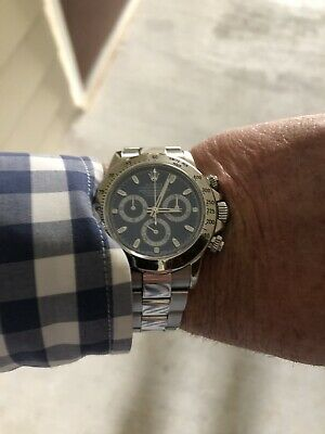 $ CDN22892.40 • Buy Rolex Daytona Stainless 18k Box Papers 116520 Blue Steel Unpolished Engraved