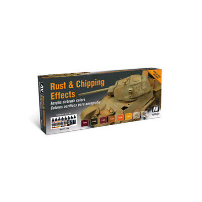 Vallejo Model Air Rust And Chipping Effects - 8 Bottle Paint Set VAL71186 • 15.99£
