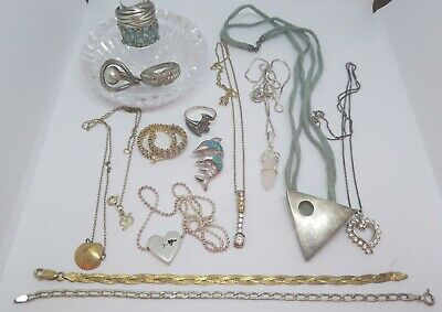 $ CDN130.15 • Buy Sterling Silver Jewelry Lot! Weight 85 Grams Some Repairs Needed - 15 Piece Lot