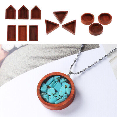 £3.95 • Buy 3Pc Wood Frame Pendant Blank Resin Bezel For Resin Casting Moulds Jewelry Making