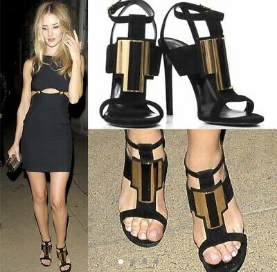 Yves Saint Laurent Shoes EU 40/UK 7 Suede, Black And Gold, YSL, T Janis Heels • 250£