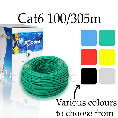 AU39 • Buy 100m 305m Cat6 UTP Ethernet Solid Cable Roll Lan Network Data Lead Multi Colors