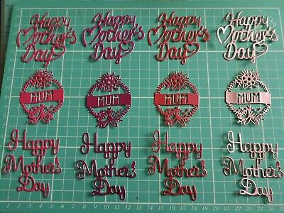 £2.99 • Buy Craft Room Clearout, Die Cut Shapes, Mothers Day,Mum Card Toppers (Pinks)
