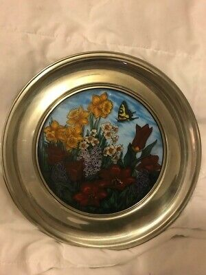 $ CDN26.76 • Buy US HIST SOCIETY STAINED GLASS PEWTER PLATE MARYROSE WAMPLER Spring Flowers 1984