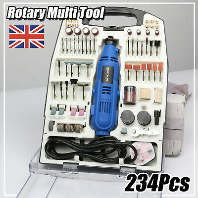 234PC Rotary Multi Tool Hobby Precision Drill + Dremel Type Accessories + Case • 37.78£