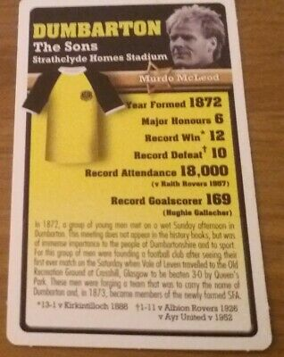 Dumbarton - Top Trumps Scottish Football The Club Collection (issued 2007) • 0.99£
