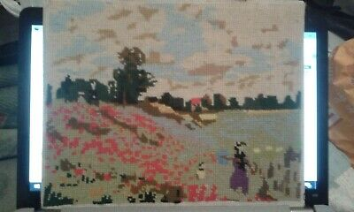COMPLETED POPPY FIELD CROSS-STITCH  30cm X24cm FINISHED • 9.95£