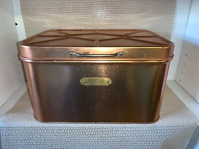 $39 • Buy Vintage Cheinco Tin & Copper Finish Bread Box With Hinged Lid- Made In USA