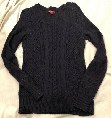 $5.99 • Buy MERONA WOMEN'S SIZE SMALL LONG  SLEEVE Cable SWEATER SHIRT - NAVY BLUE EUC