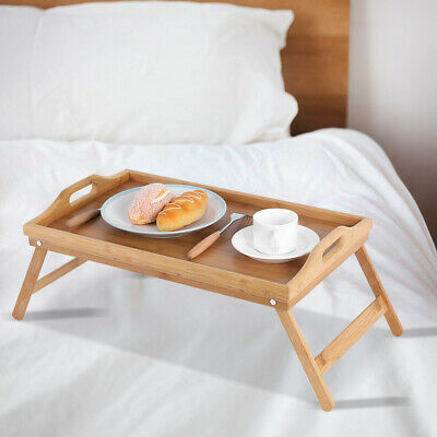 $16.94 • Buy Bamboo Wood Breakfast Food Tea Serving Tray Lap Table Over Bed Tray With Folding