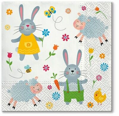 4 X Single Paper Napkins/3 Ply/Decoupage/Craft/Easter/Lambs/Bunny/Chick • 1.25£