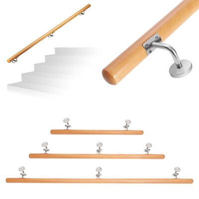 £59.94 • Buy Beech Wooden Handrail 1M 1.5M 2M Stair Balcony Porch Wall-Mount Natural Banister
