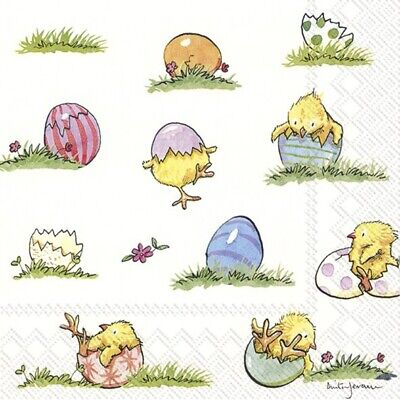 4 X Single Paper Napkin/3-Ply/33cm/Decoupage/Easter/Little Chicks And Eggs • 1.25£