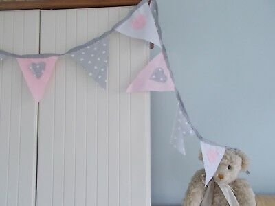 £6.95 • Buy  Bunting Grey Pink White Heart Baby Shower  Party 2 Metre Girl Nursery