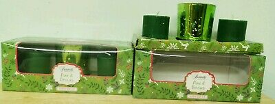 2 Box Set Green Shade Pine Berry Tealight Candle & Holder Temple Home Dine DECOR • 10.99£