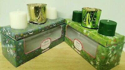 2 Box Set Frankincense Pine Berry Fragrance Mini Candles & Holder Home Dine DECO • 10.99£