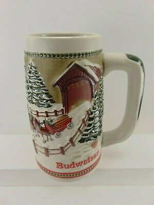 $ CDN9.82 • Buy Vintage 1984 Budweiser Holiday Beer Stein Mug Clydesdale Ceramarte Green Handle