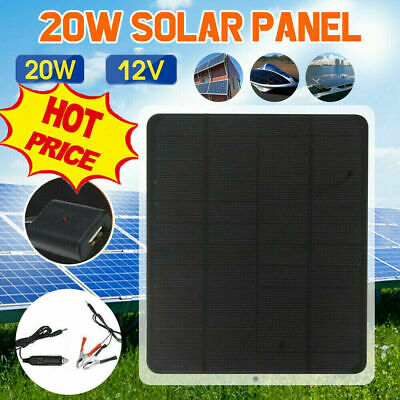 AU23.88 • Buy 20W 12V Car Boat Yacht Solar Panel Trickle Battery Charger Power Supply Outdoor