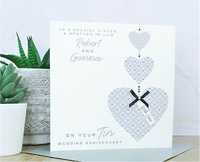 Personalised Handmade 10th Tin Wedding Anniversary Card • 3.99£