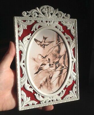 £19.75 • Buy Rococo Style Acanthus Leaf White Metal Frame Pierced Shows Red Flock Border