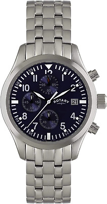Rotary Men's Quartz Watch With Blue Dial Chronograph Display And Silver Stainles • 83£