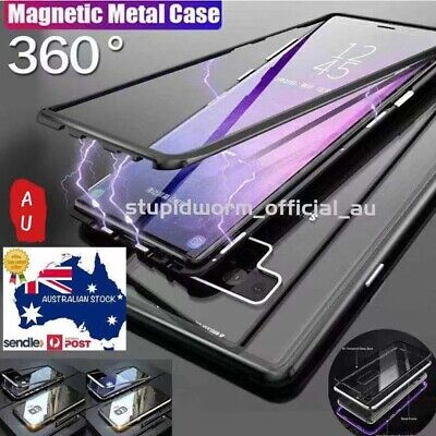 AU7.99 • Buy For Samsung S10/S9/S8 Note10 Plus 8/9 Magnetic Case Metal Tempered Glass Cover