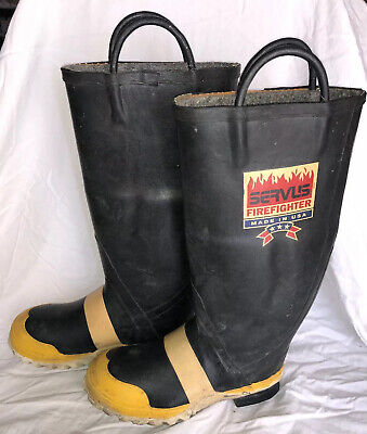$84.99 • Buy Vtg SERVUS FIREFIGHTER Made USA Steel Toe Wool Insulated Rubber Boots Mens 6.5
