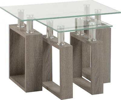 Milan Nest Of Tables In Light Charcoal Veneer Glass Silver • 71.65£