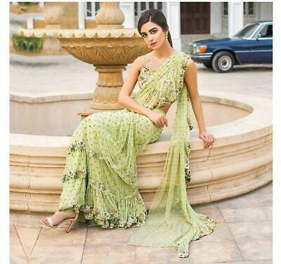 Saree Georgette Ruffle Sari Party Blouse Wear Indian Designer Women Frill Piece • 24.78£