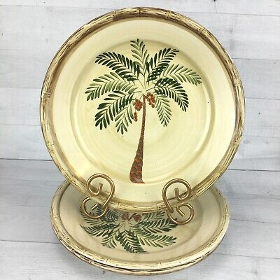 $20.39 • Buy Home Trends WEST PALM  Tropical Bamboo Border Rims Coconut Dinner Plates Set 3