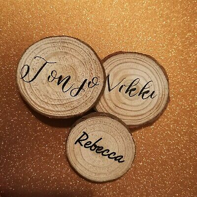 Personalised Name Place Rustic Wooden Wedding Favours Table Mini Log Slices • 1£