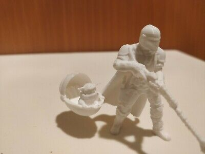 $12.95 • Buy The Mandalorian With Floating Baby Yoda  The Child 3D Printed Figure White