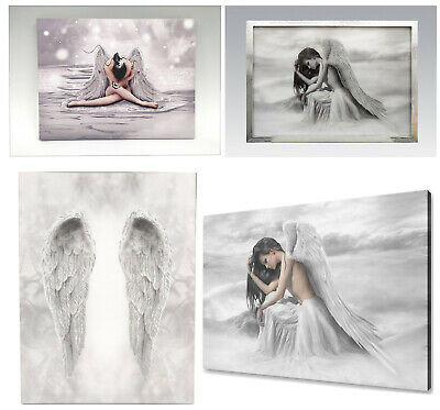 Angel Wings & Glitter Angel Canvas Wall Art Home Decoration Hanging Pictures New • 14.95£