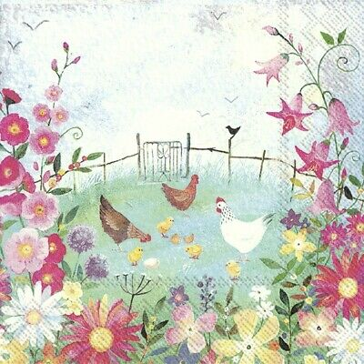 4 X Single Table Paper Napkins/3 Ply/Decoupage/Easter/Chickens/Flower Garden • 1.25£