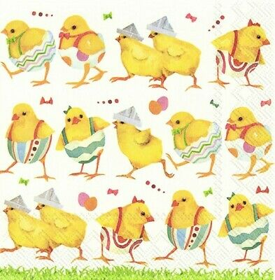 4 X Single Table Paper Napkins/3 Ply/Decoupage/Easter/Chicks Parade • 1.25£