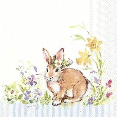 4 X Single Table Paper Napkins/3Ply/Decoupage/Easter/Lovely Bunny/Blue • 1.25£