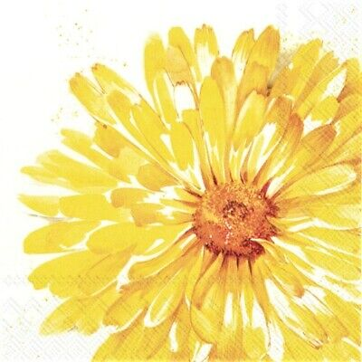 4 X Single Paper Napkins/3 Ply/Decoupage/Flowers/Yellow Daisy Flower Head • 1.25£