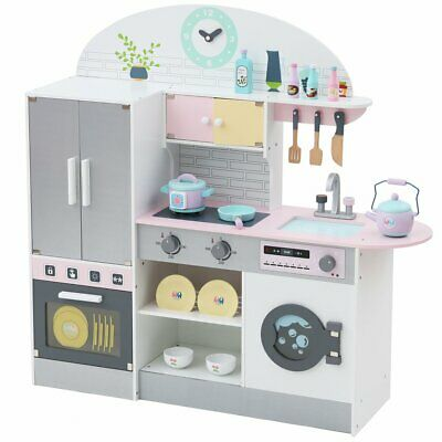 Wooden Large Children Kids Kitchen Cooking Role Play Set Pretend Toy With Fridge • 92.18£