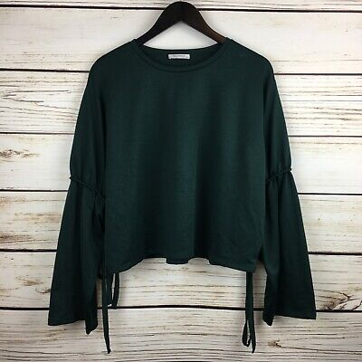 $19.99 • Buy Zara Trafaluc Top Cropped Tied Bell Sleeves Green Polyester Green Size Large