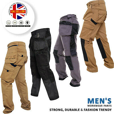 Mens Heavy Duty Work Trousers Cargo Combat Style Knee Pad Pocket Workwear Pants • 16.99£