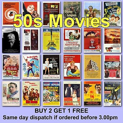 1950/'s Classic Retro Vintage Many Movie Posters A0-A1-A2-A3-A4-A5-A6-MAXI C451