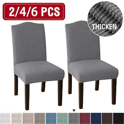 AU44.09 • Buy Dining Chair Covers Stretch Jacquard Parson Chair Slip Covers Washable 2/4/6 PCS