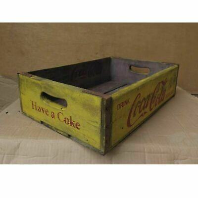 Wooden Vintage Coca Cola Crate Tray Classic Retro Yellow Coke Bottle Display Box • 27.99£